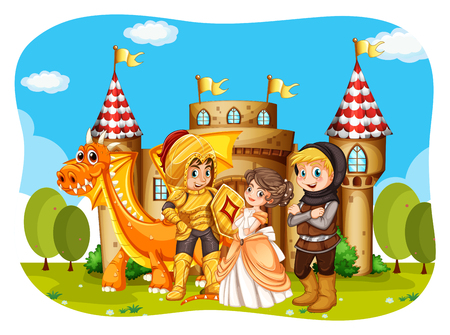 cartoon knight: Princess and knights standing in front of the castle illustration