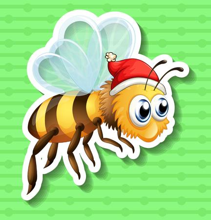 cappello natale: Sticker di api che indossa cappello di Natale illustrazione Vettoriali