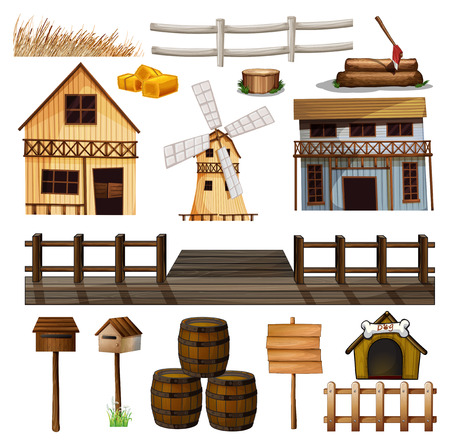 barrell: Countryside style of buildings and other objects illustration Illustration