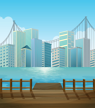 perspectiva ciudad: Pier with city view background illustration