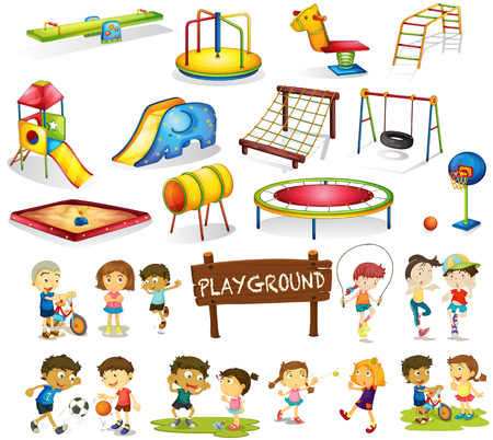 swing: Children playing and playground set illustration