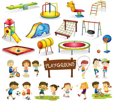 columpio: Los ni�os que juegan y juego de jard�n ilustraci�n