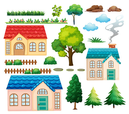accomodation: Houses and different plants illustration