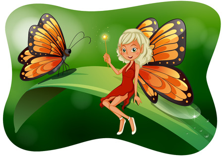 shinning leaves: Beautiful fairy with butterfly illustration