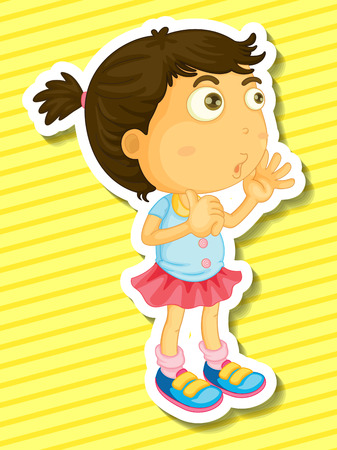people looking up: Sticker of a girl counting illustration