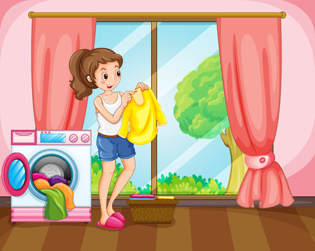 washing clothes: Woman doing laundry at home illustration