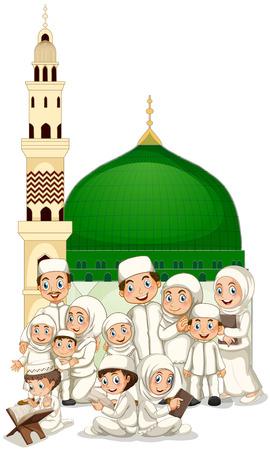family praying: Familia musulmana delante de ilustración de la mezquita