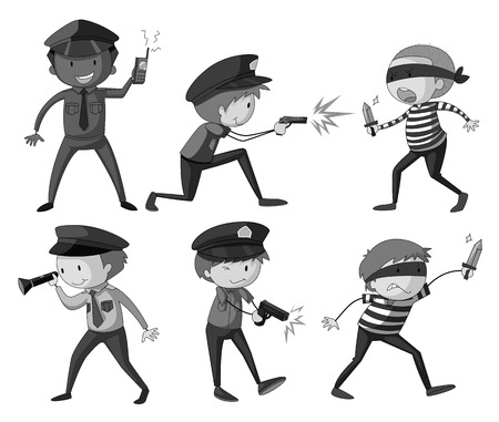 thieves: Police and thieves in black and white illustration