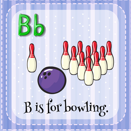 for: Flashcard of B is for bowling illustration Illustration