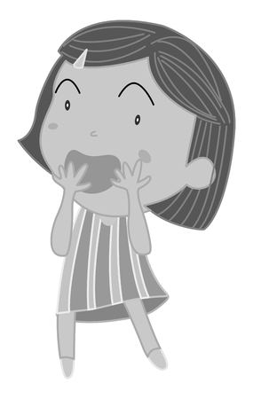 surprising: Little girl covering mouth with both hands illustration Illustration