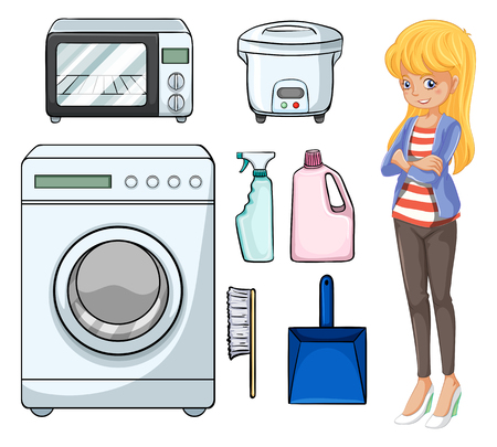 dustpan: Woman and household objects illustration Illustration