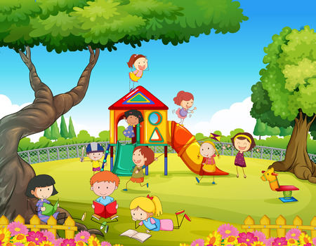 bambini che giocano: Bambini che giocano nel parco giochi illustrazione