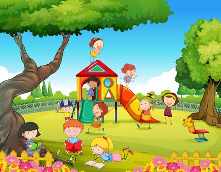 chicos: Niños jugando en el patio de la ilustración