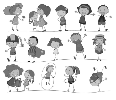 white people: Set of children in black and white illustration