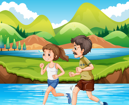 women working out: Man and woman jogging in the park illustration Illustration