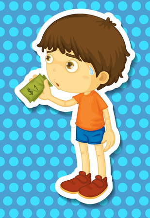 cartoon kid: Little boy holding some money illustration
