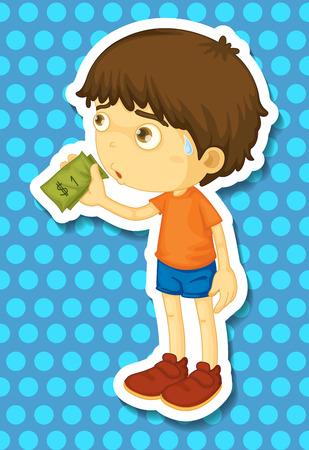 Little boy holding some money illustration