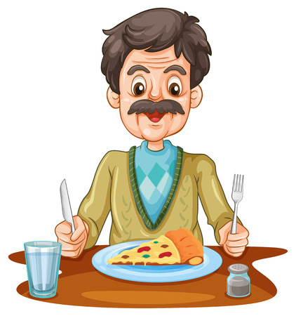 cartoon dinner: Old man eating pizza on the table illustration