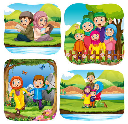 mom and dad: Muslim doing activities in the park illustration