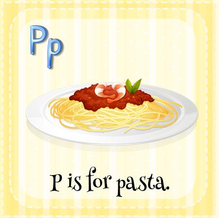 plate: Alphabet P is for pasta illustration Illustration
