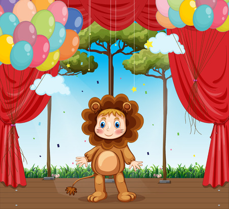 stage costume: Kid in lion costume on stage illustration