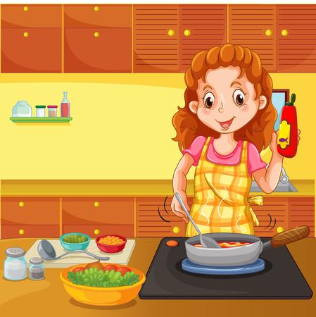 cocina caricatura: Mujer que cocina en la cocina ilustración Vectores