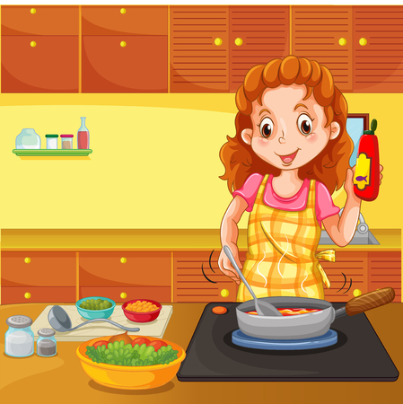 Woman cooking in kitchen illustration Illustration