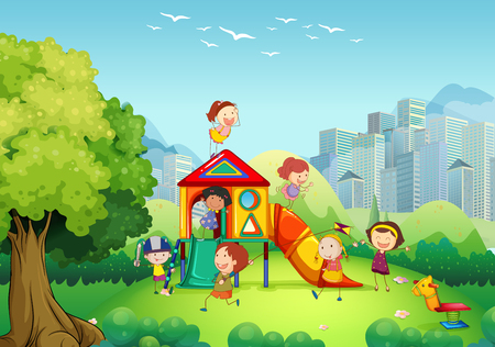 playgrounds: Children playing in the playground illustration