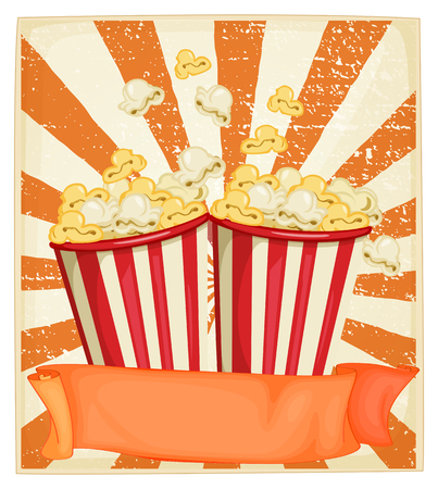 buttery: Popcorn in cups with banner illustration