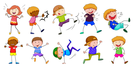 boy smiling: Boy and girl in different poses illustration