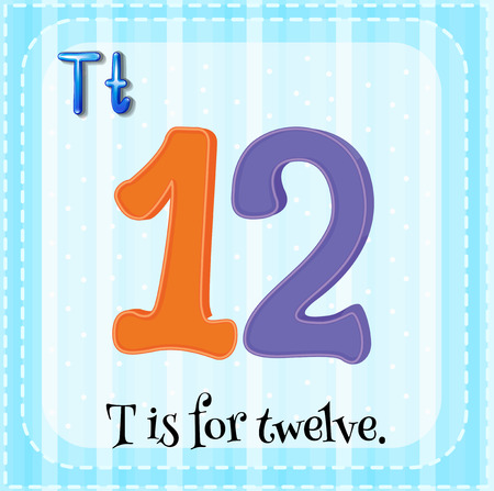 numbers clipart: Flashcard of T is for twelve illustration Illustration
