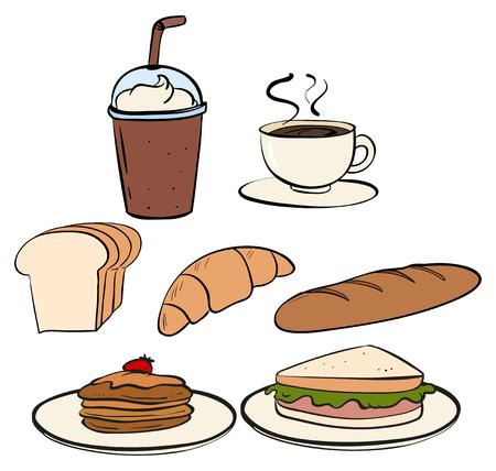 food and beverage: Food and beverage on white illustration