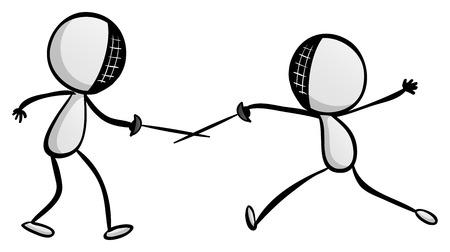 sword fighting: Doodle sport sword fighting illustration