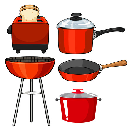 stainless steel pot: Kitchenware in red color illustration