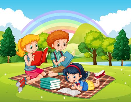 公園イラストで本を読む子どもたち