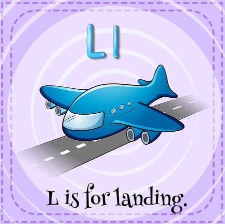 l: Flashcard letter L is for landing illustration Illustration