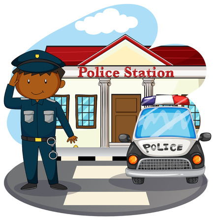 police: Policeman saluting in front of police station illustration