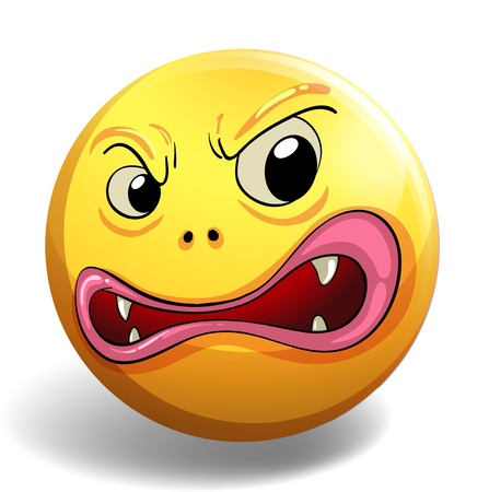 angry face: Angry face on yellow badge illustration