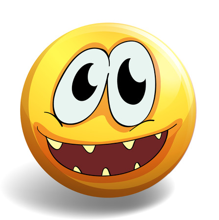 smiles teeth: Yellow ball with happy face illustration