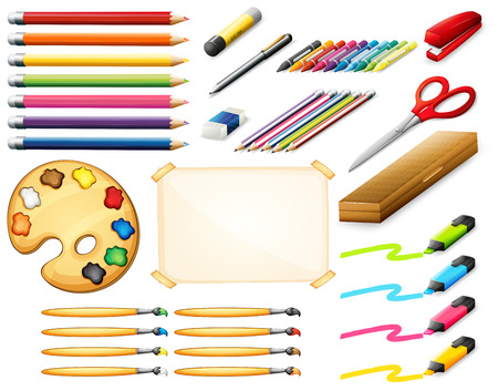 stationary set: Stationary set with colorpencils and art objects illustration