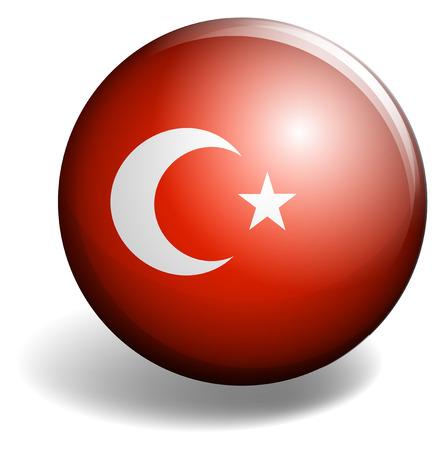 turkey flag: Turkey flag on badge illustration Illustration