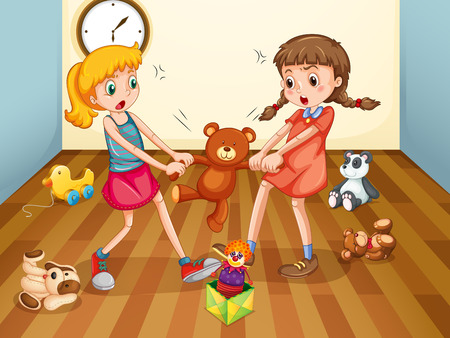 children room: Girls fighting over teddy bear illustration