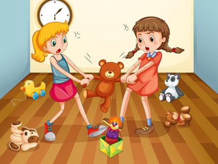 Muchachas que luchan sobre oso de peluche ilustración Vectores