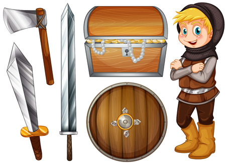sheild: Knight with weapons and treasure illustration