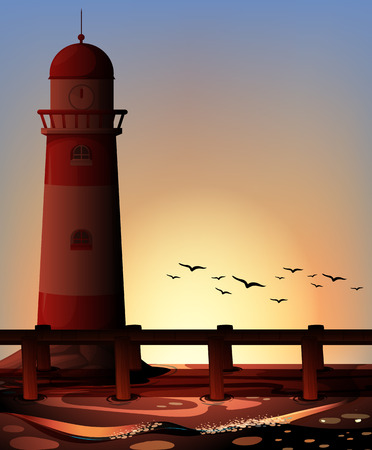 sea bird: Silhouette lighthouse by the ocean illustration Illustration