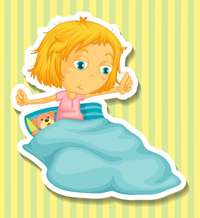 Little girl in bed waking up illustration Illustration