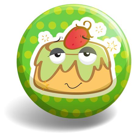 custard: Custard cake on badge illustration