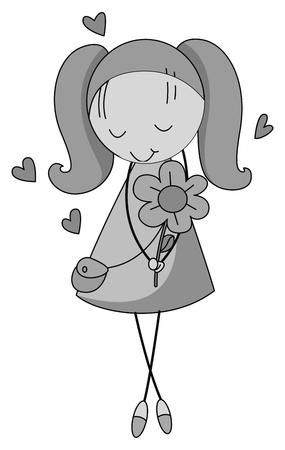 girl holding flower: Shy girl  holding flower  illustration