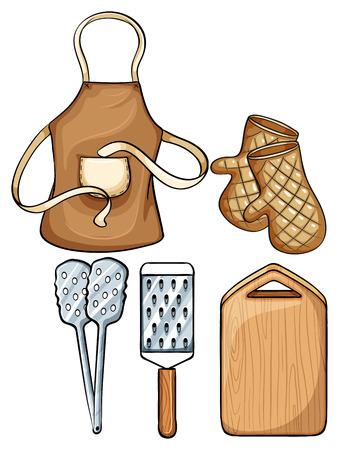 ustensiles de cuisine: Ustensiles de cuisine avec tablier et mitaines illustration