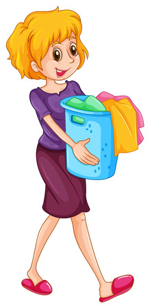 carrying: Woman carrying laundry basket illustration Illustration